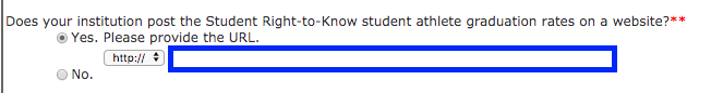 IPEDS question asking for the URL for the institution's Athletic Graduation Rate Data.