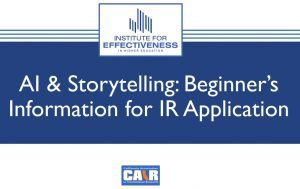 Cover Slide for AI & Storytelling: Beginner's Information for IR Application-CAIR 2019 presentation