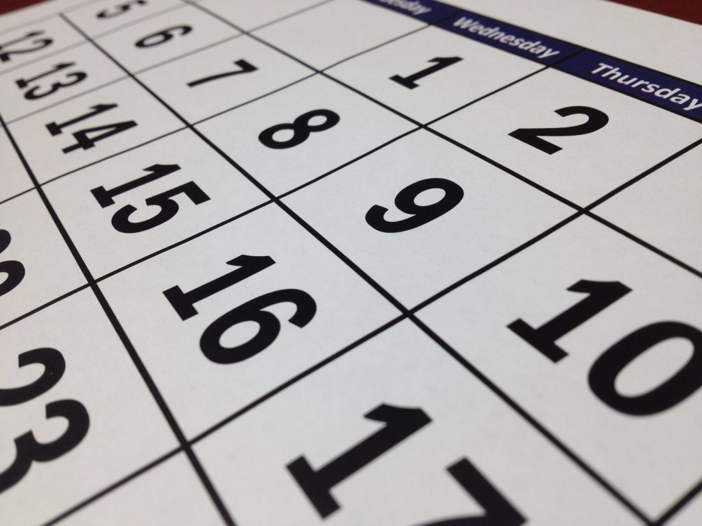 side view of a large office desk calendar to reflect budget season dates