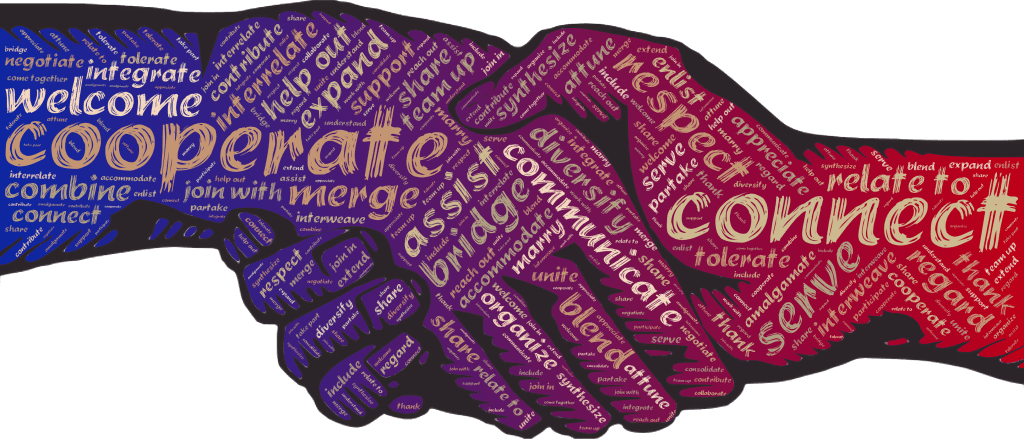 """Graphic of two hands clasped in a handshake. Image contains words which are synonymous with """"cooperate,"""" like connect, merge, integrate, welcome, and bridge - all things that cross-functional team managers do."""