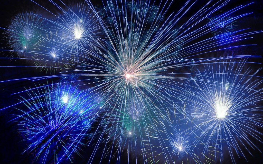 Blue and white fireworks in the sky. You'll celebrate when your metrics are in shape in 2020.