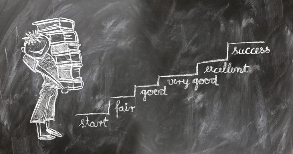 Chalkboard drawing with student holding books about to climb stairs to success