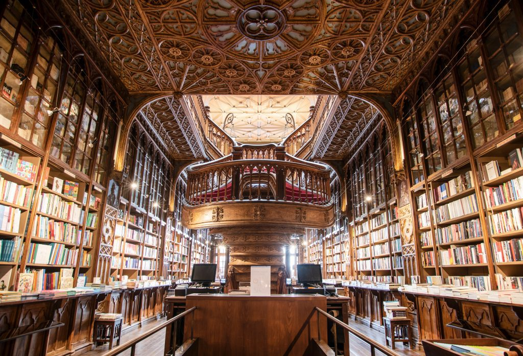Library shelves filled with books and a high vaulted ceiling
