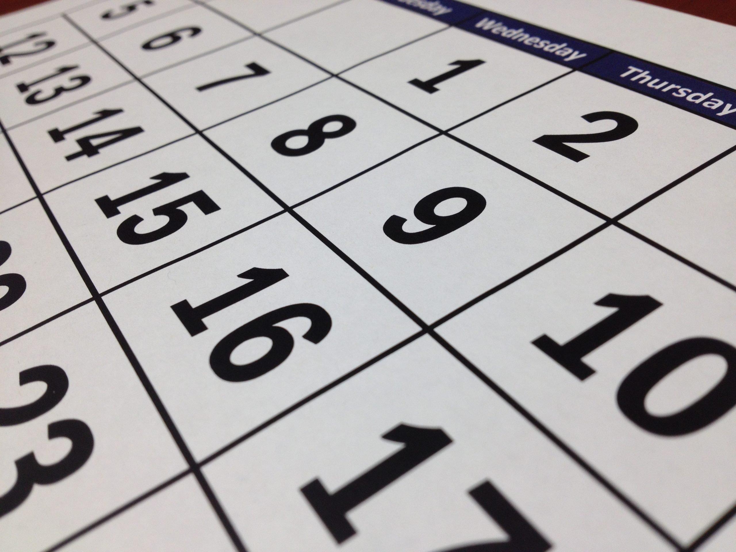 Close up of a calendar symbolizing the IPEDS schedule