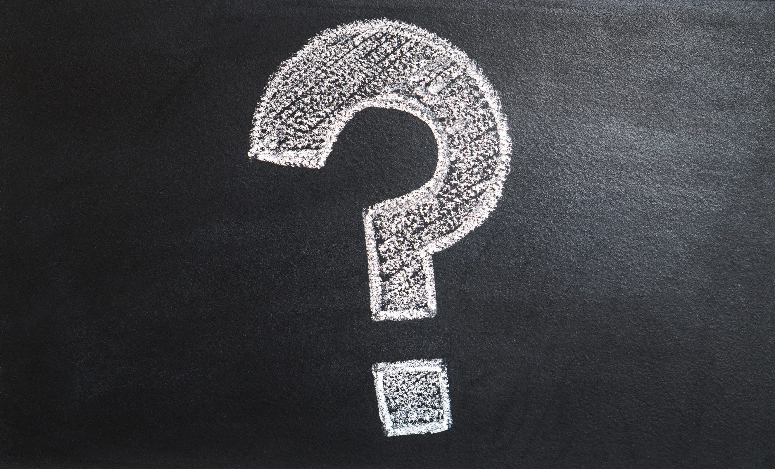 Image of a question mark on a chalkboard