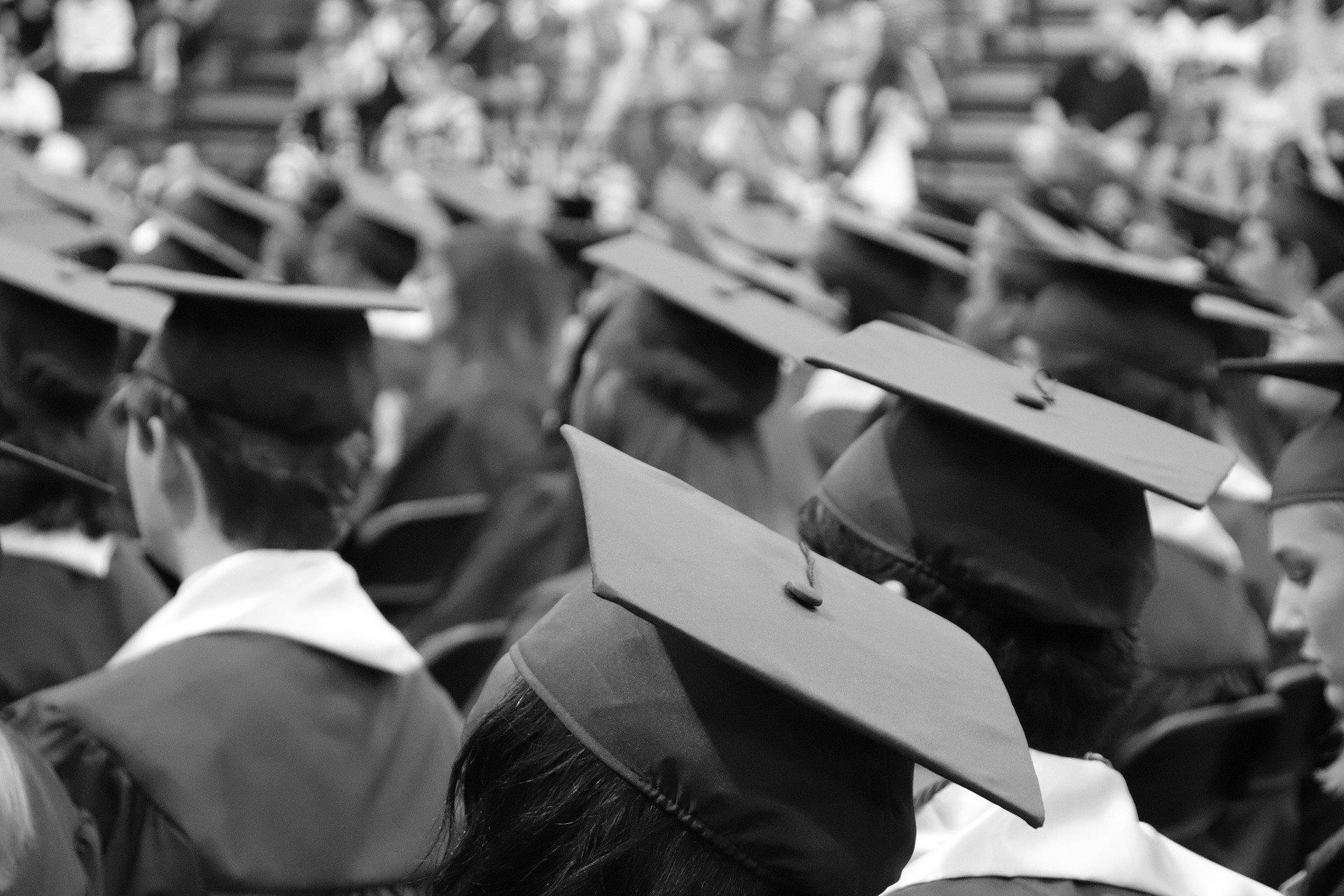 Students wearing graduation caps