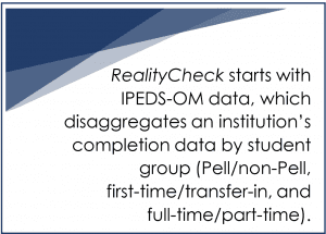 RealityCheck starts with IPEDS-OM data, which disaggregates an institution's completion data by student group (Pell/non-Pell, first-time/transfer-in, and full-time/part-time).