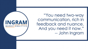 You need two-way communication, rich in feedback and nuance. And you need it now.