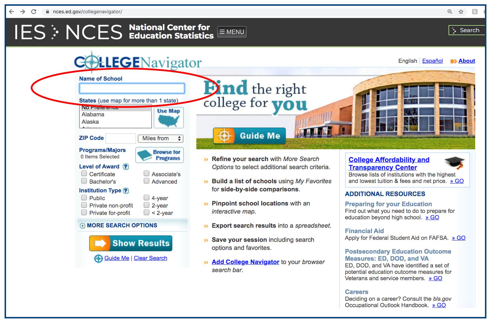 1- College Navigator school look-up walk-through