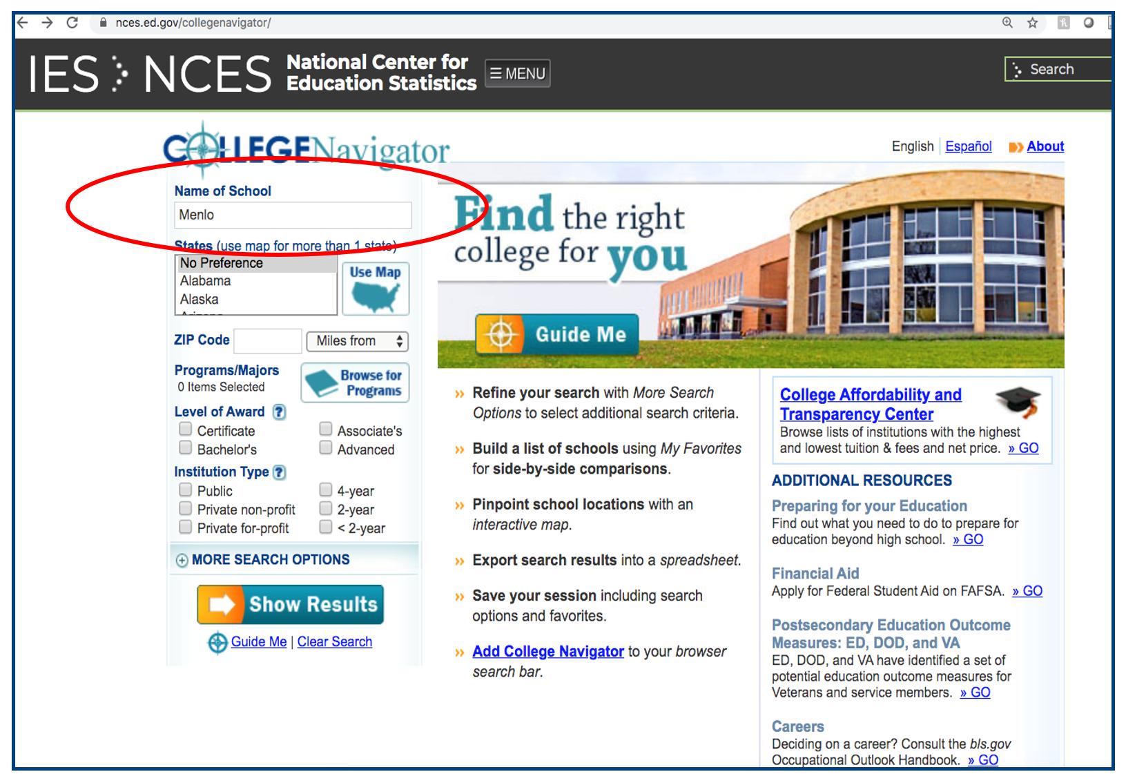2 - College Navigator school look-up walk-through