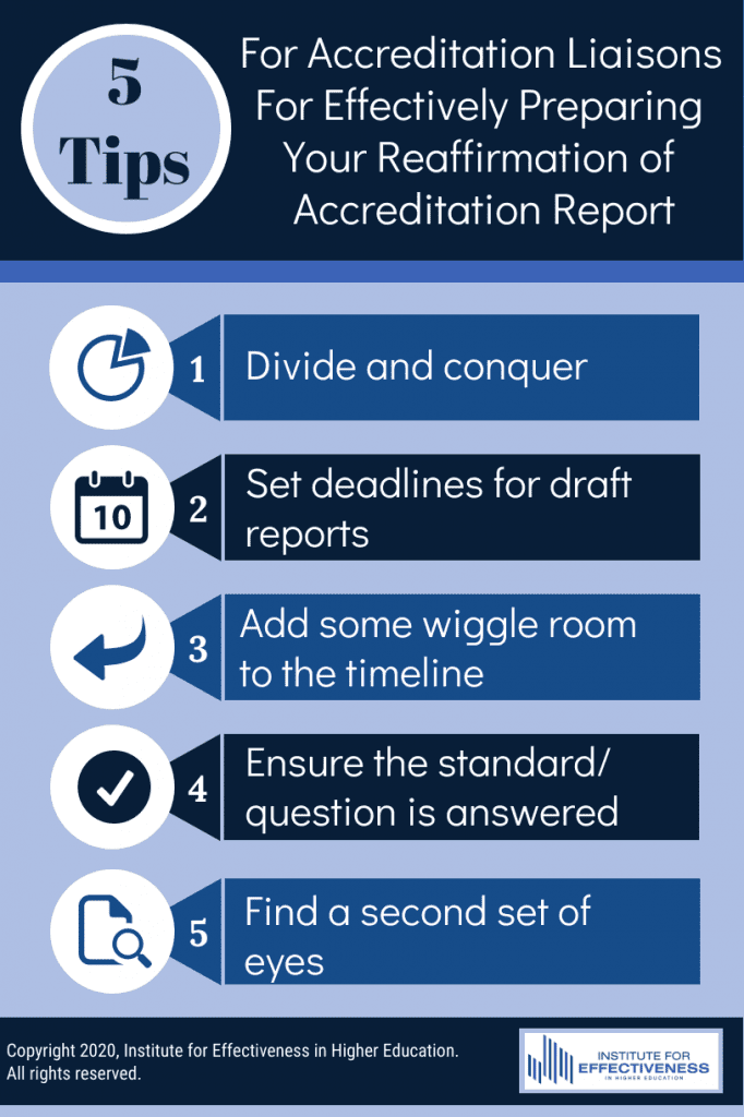 Five tips for Accreditation liaisons for effectively preparing your reaffirmation of accreditation report