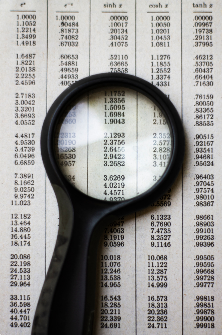 Magnifying glass on data